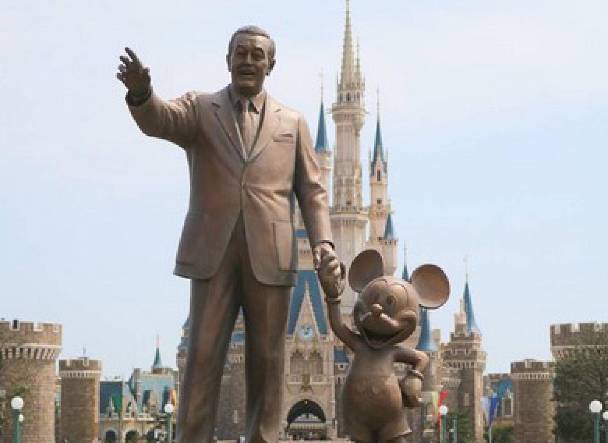 ウォルト・ディズニーとミッキー・マウスの銅像